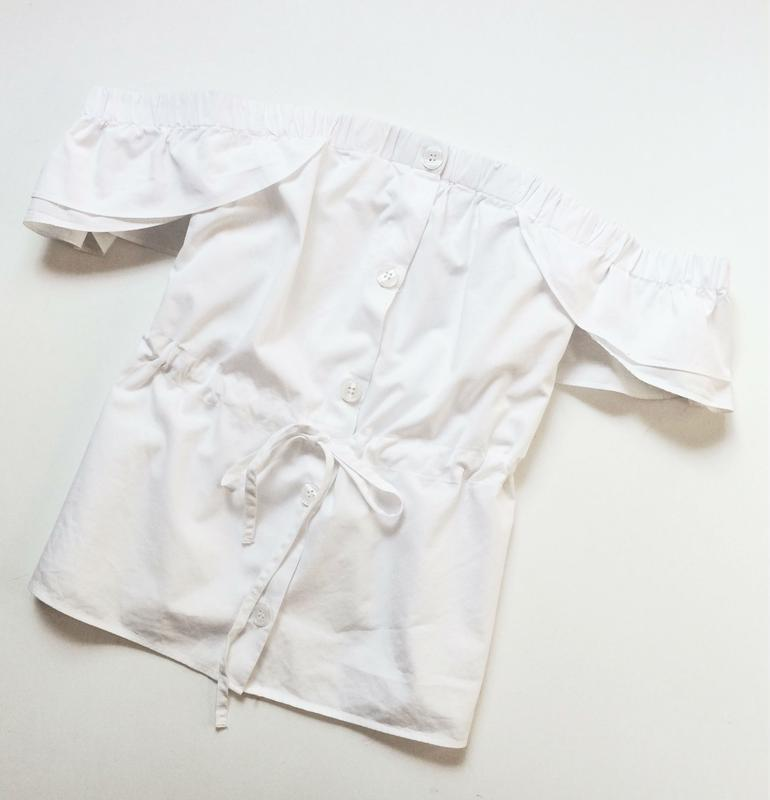 H&m блуза на пуговицах с открытыми плечами - Фото 3