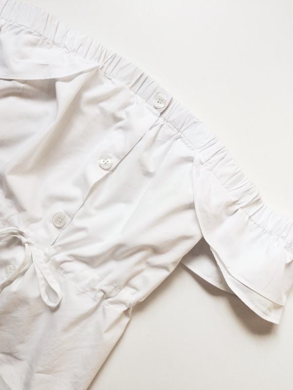 H&m блуза на пуговицах с открытыми плечами - Фото 4