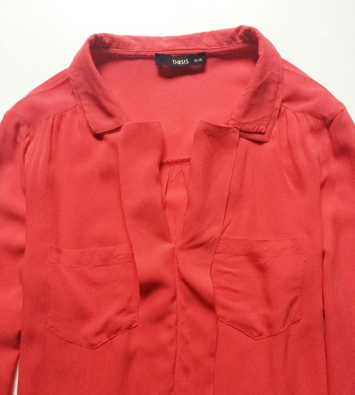 Oasis коралловая блуза - Фото 3