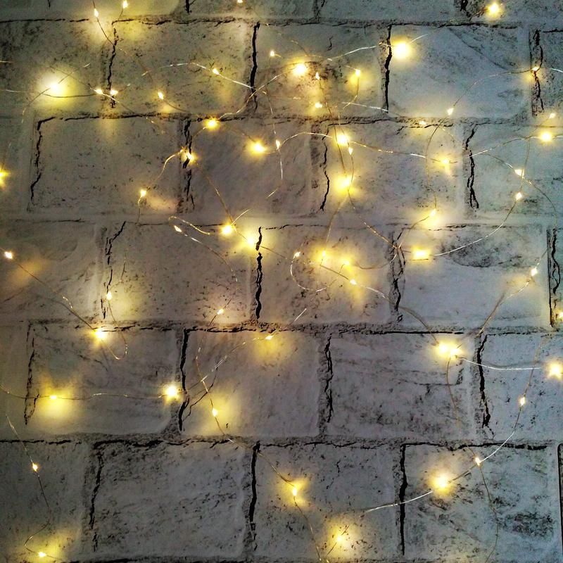 LED гирлянда, теплый свет, желтая, 5 метров