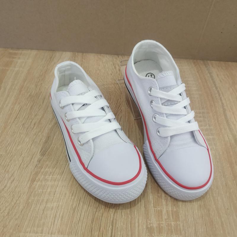 Для девочек белые легкие кеды белые на шнурках - Фото 2