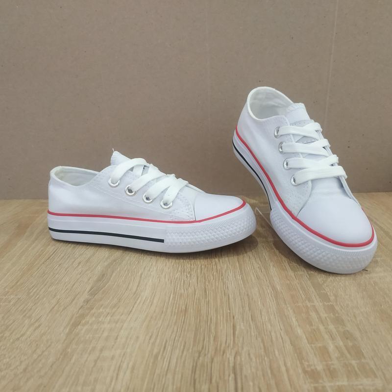 Для девочек белые легкие кеды белые на шнурках - Фото 3