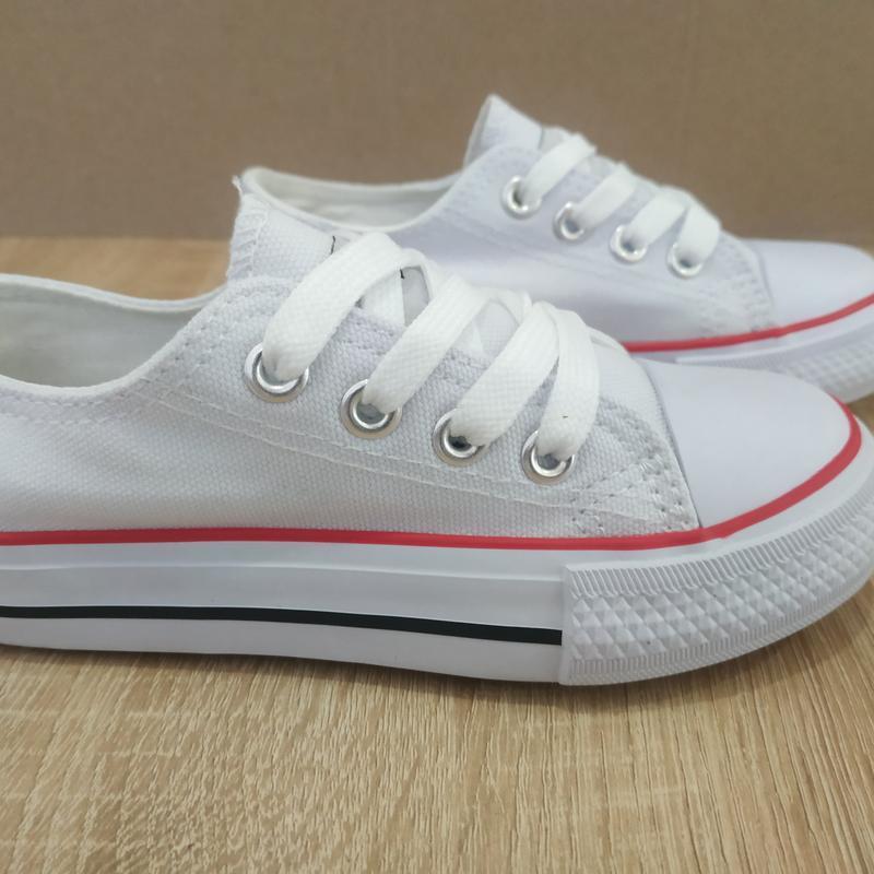 Для девочек белые легкие кеды белые на шнурках - Фото 5