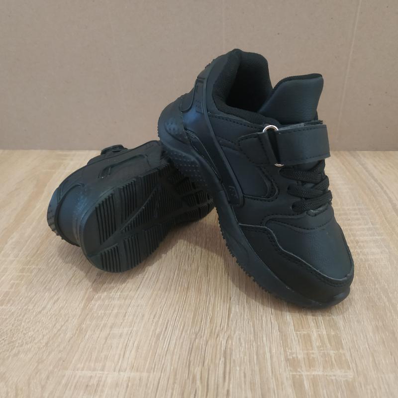 Черные кроссовки пена подошва на липучке - Фото 3