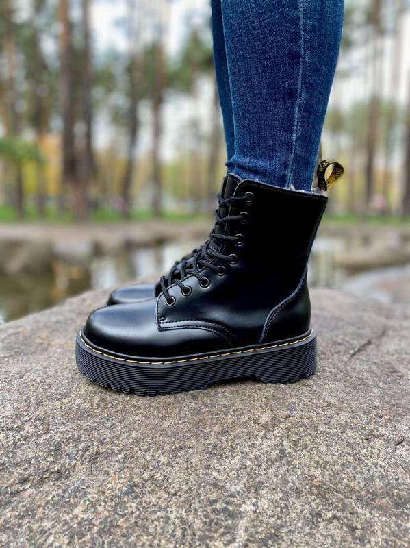 Шикарные женские ботинки dr. martens jadon black на меху наложка - Фото 3