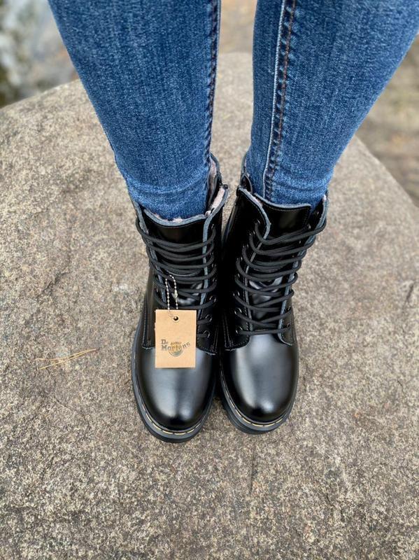 Шикарные женские ботинки dr. martens jadon black на меху наложка - Фото 5