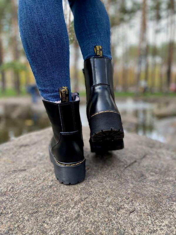 Шикарные женские ботинки dr. martens jadon black на меху наложка - Фото 6