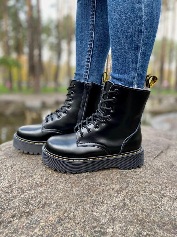 Шикарные женские ботинки dr. martens jadon black на меху наложка - Фото 7
