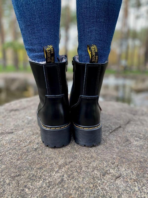 Шикарные женские ботинки dr. martens jadon black на меху наложка - Фото 9
