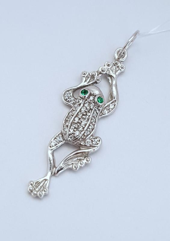 Серебряная подвеска жаба-царевна серебро 925 проба