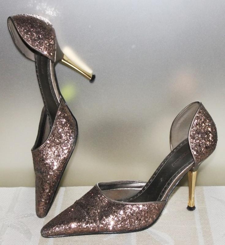 Туфли в блёстках, золотой каблук, graceland 36р