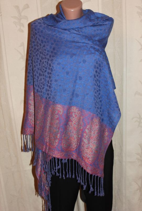 Роскошный шарф-палантин сапфир pashmina,100% кашемир(шерсть)