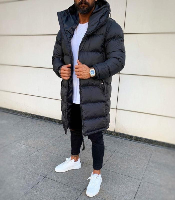 Мужская зимняя удлиненная куртка черного цвета - Фото 5