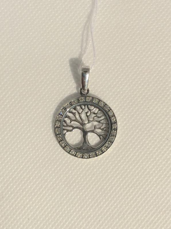 Новый серебряный подвес деревце куб.цирконий чернение серебро ...