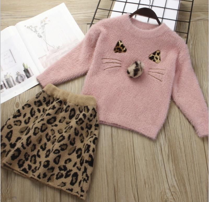 Костюм модный тёплый юбка леопард ????