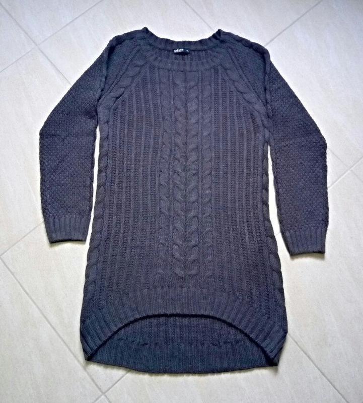 Актуальное,тёплое платье,туника- объемной вязки с удлиненной с...
