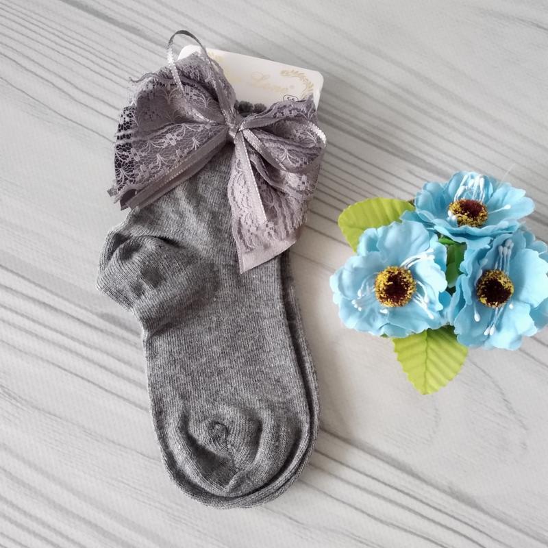 Серые нарядные носки для девочки 5-6 лет, турция
