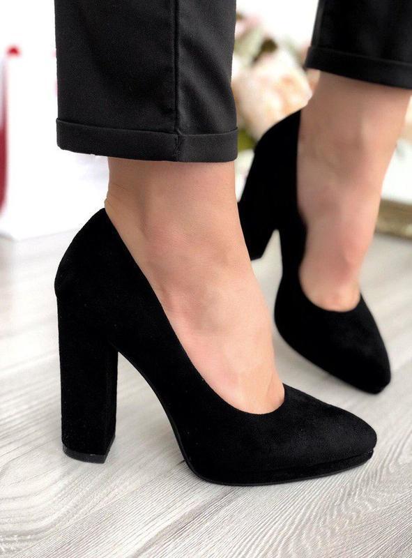 Черные замшевые туфли на каблуке эко-замш, замшеві туфлі на ка...