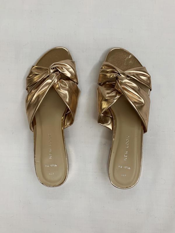 Золотистые шлепанцы, сабо, открытая обувь без пятки.