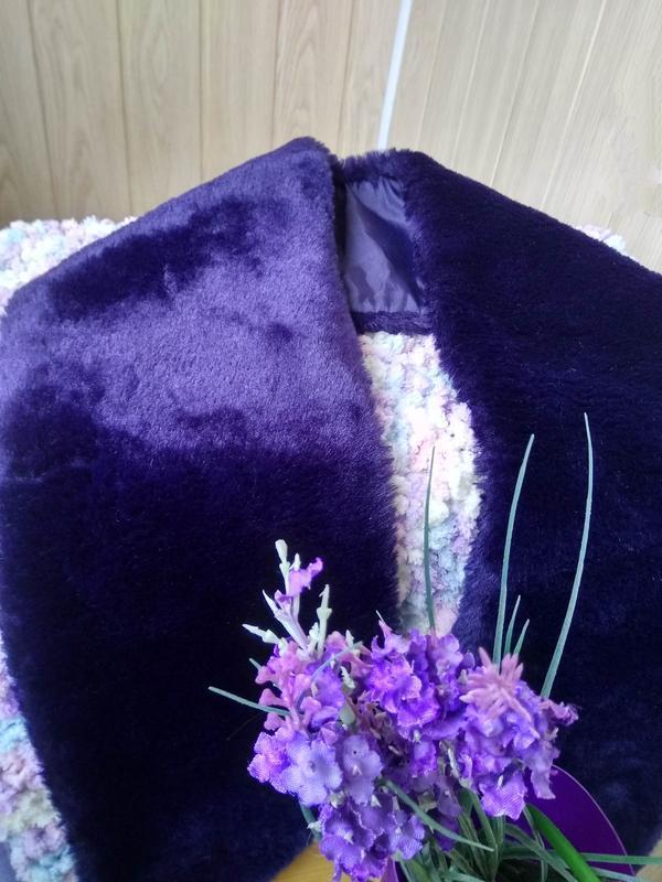 Красивый фиолетовый воротник next из эко-меха/горжетка/искусст...