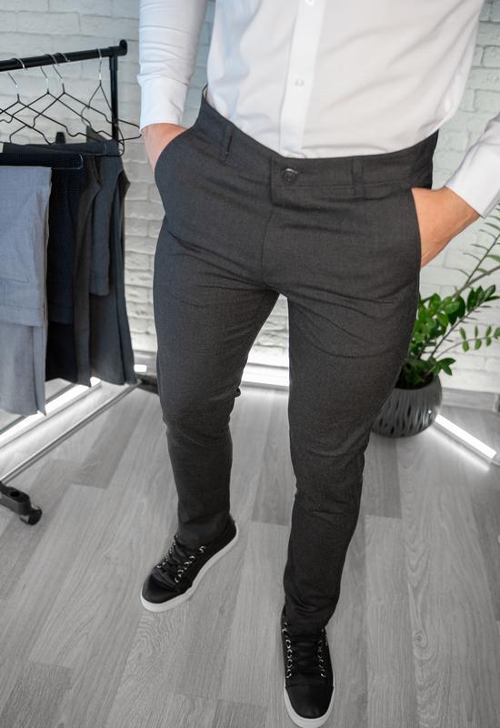 Мужские брюки облегающие черные / турция