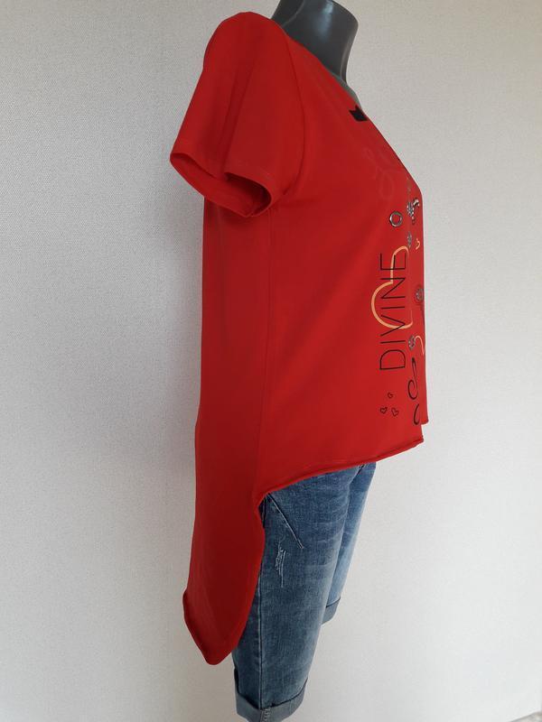 Мега-крутая,трендовая красная футболка с длинной спинкой pink ...