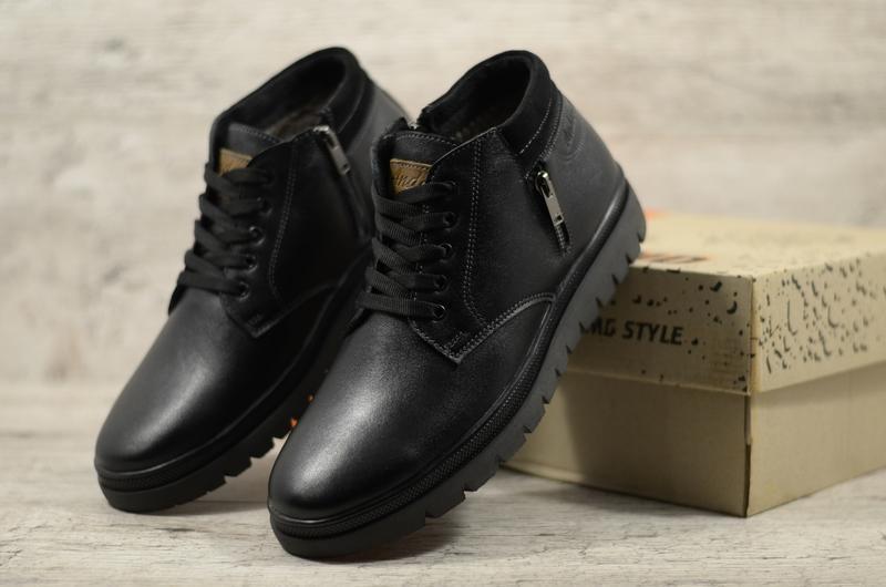 Мужские зимние кожаные ботинки на модной подошве