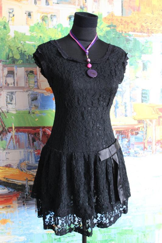 Платтье кружевное гипюр кружево ажурное черное s короткое ажур