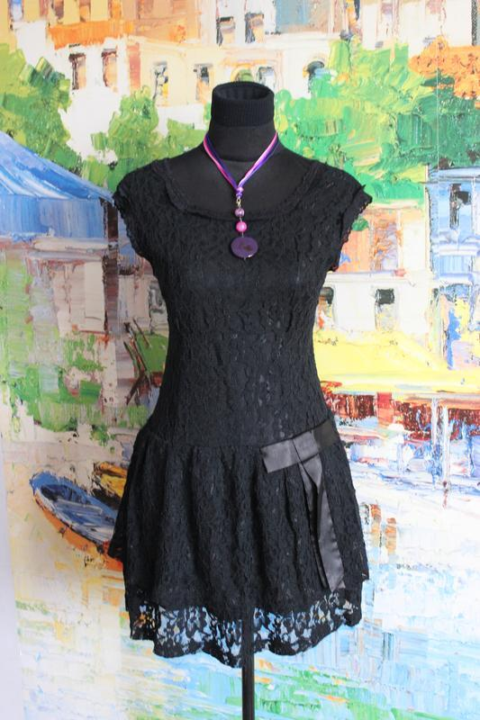 Платтье кружевное гипюр кружево ажурное черное s короткое ажур - Фото 2
