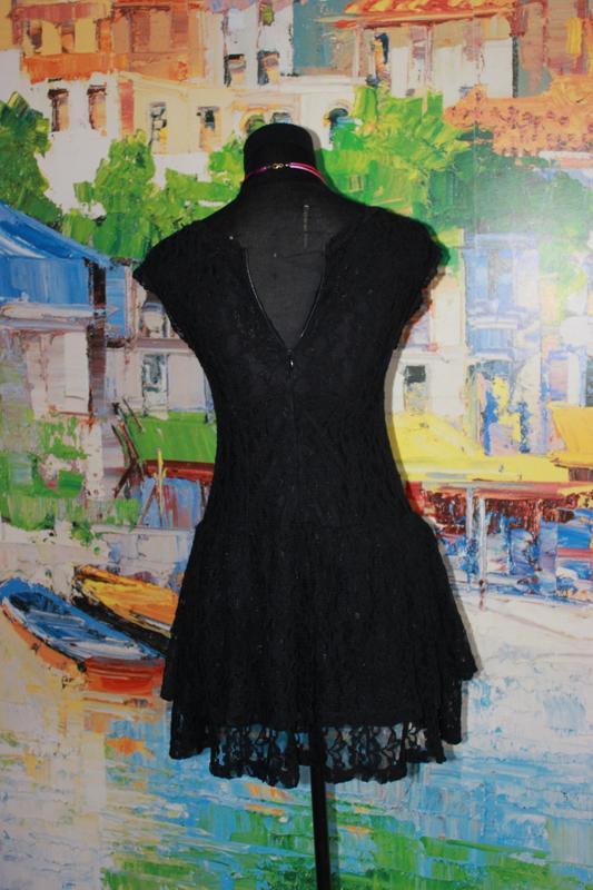 Платтье кружевное гипюр кружево ажурное черное s короткое ажур - Фото 4