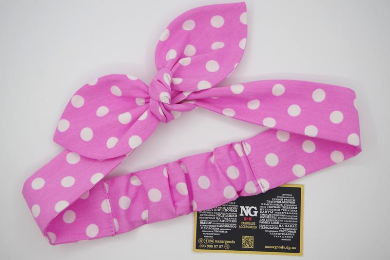 Повязка на голову pin up розовая в горох - Фото 2