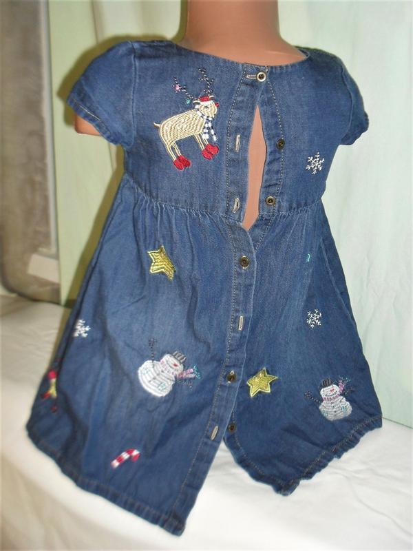 Джинсовое платье с вышивкой на 3-4годика - Фото 2