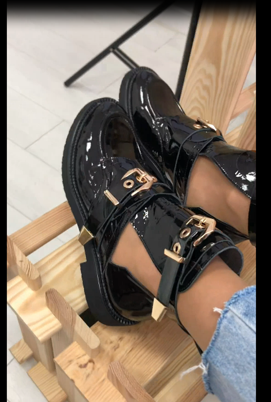 Женские ботинки, кожаные, лаковые, черные, на ремнях - Фото 4