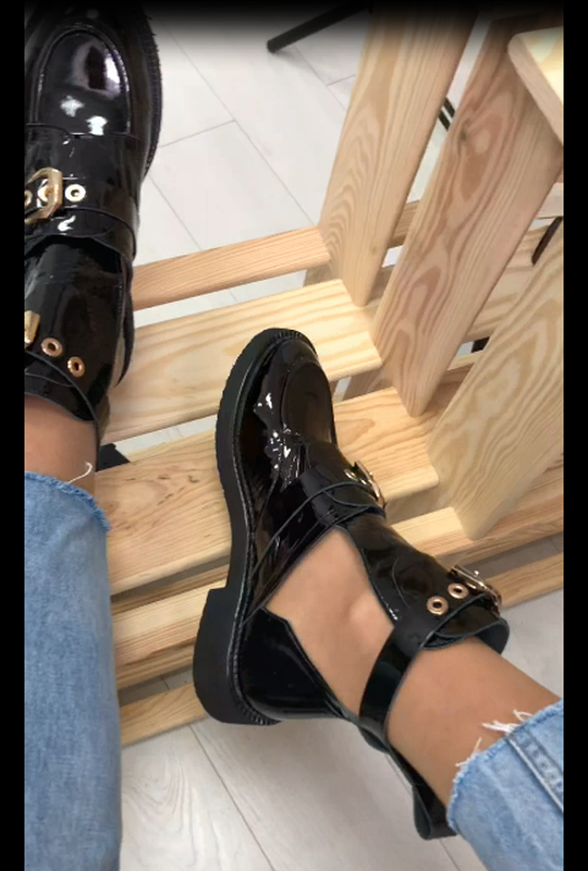 Женские ботинки, кожаные, лаковые, черные, на ремнях - Фото 5