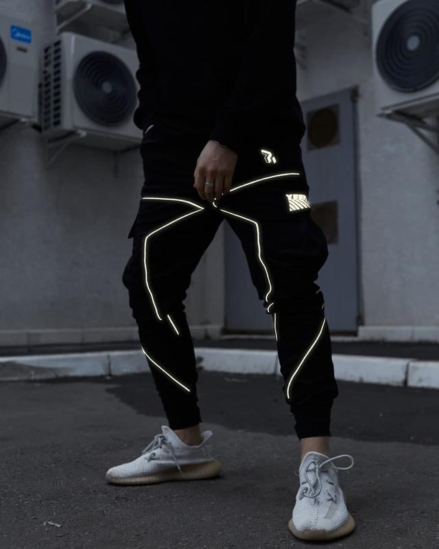Теплые брюки карго мужские пушка огонь xeed черные с рефлективом