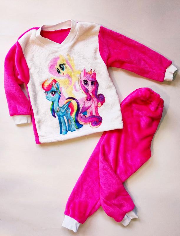 Махровая теплая пижама на девочку от 86-140 см