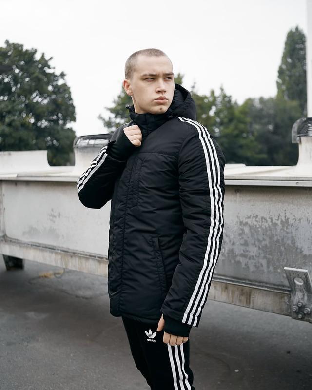 Зимняя мужская куртка парка adidas черная