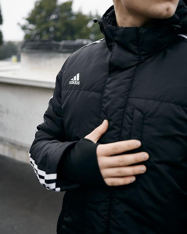 Зимняя мужская куртка парка adidas черная - Фото 3