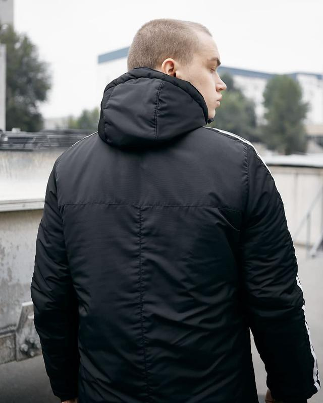 Зимняя мужская куртка парка adidas черная - Фото 4