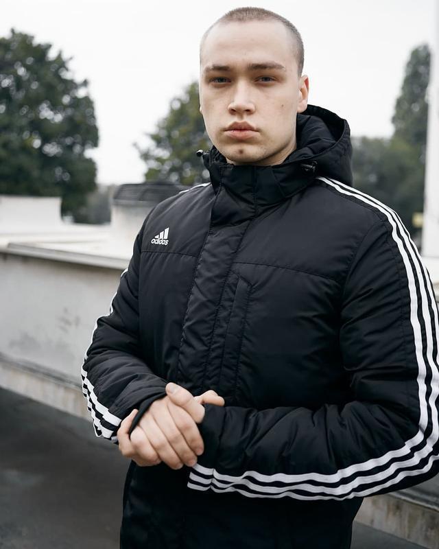 Зимняя мужская куртка парка adidas черная - Фото 5