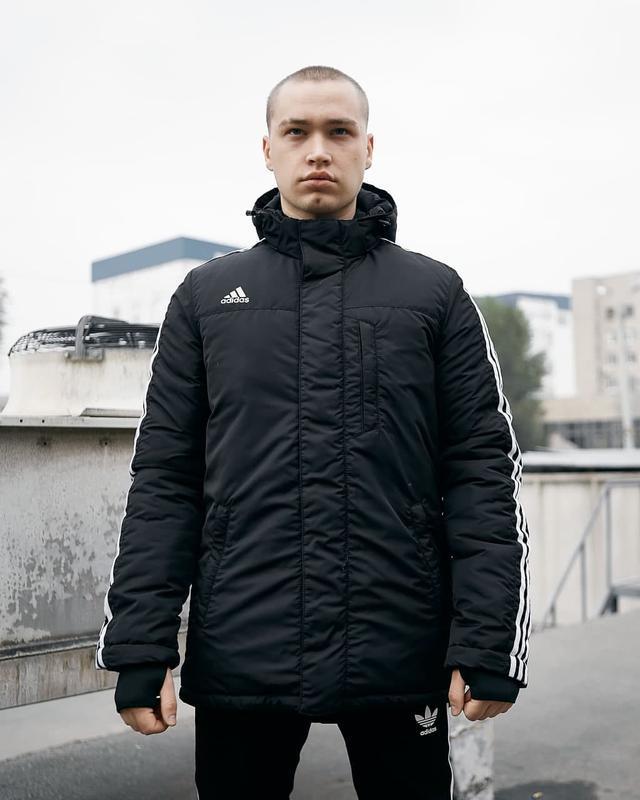 Зимняя мужская куртка парка adidas черная - Фото 6