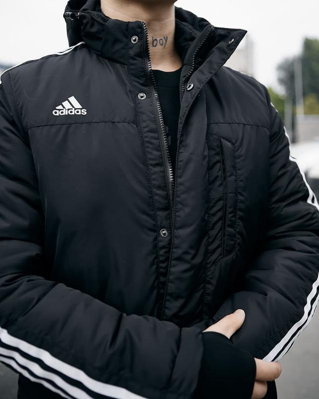 Зимняя мужская куртка парка adidas черная - Фото 7