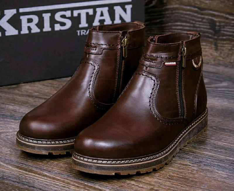 Мужские зимние кожаные ботинки - Фото 2