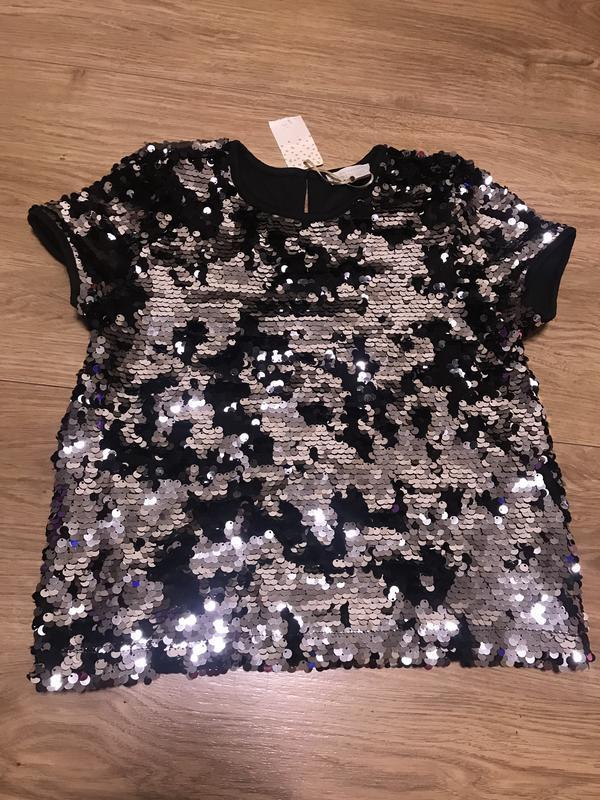 Нарядная футболка в пайетках primark для девочки 9-10 лет рост...