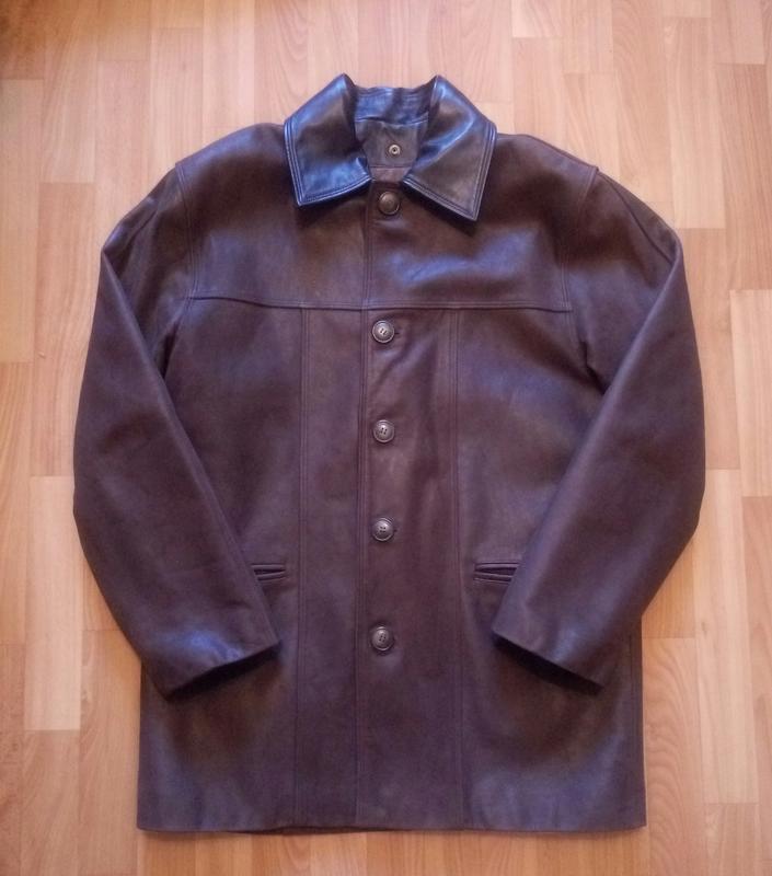 Мужская кожаная куртка длинная  на подстежке.большой размер.ak...