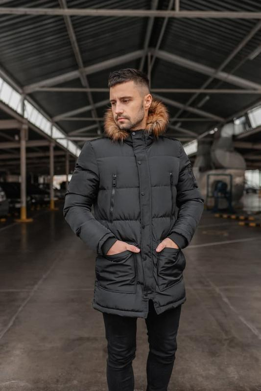 Мужская зимняя черная длинная куртка арктика ???? теплая куртка д...