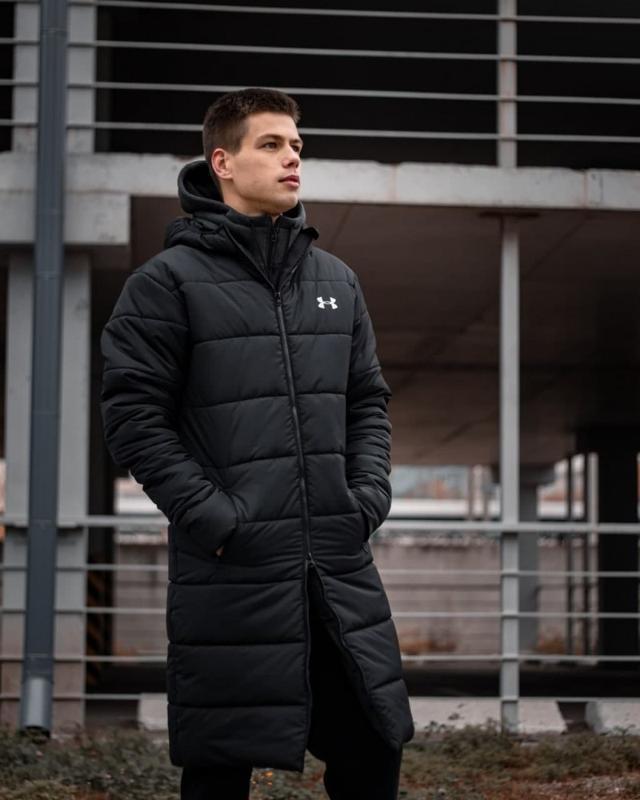 Зимний удлиненный пуховик - under armour черный куртка