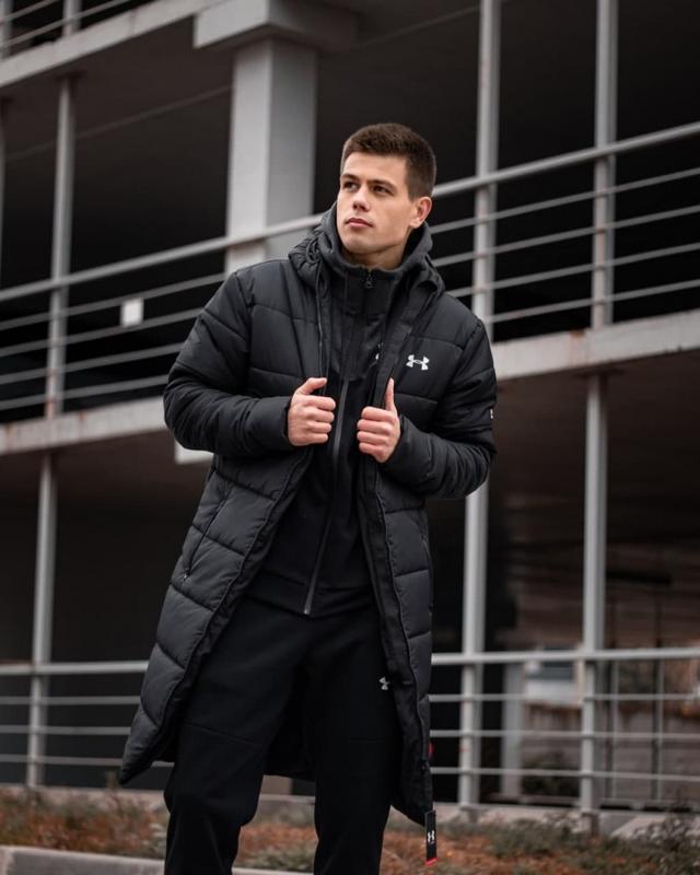 Зимний удлиненный пуховик - under armour черный куртка - Фото 2