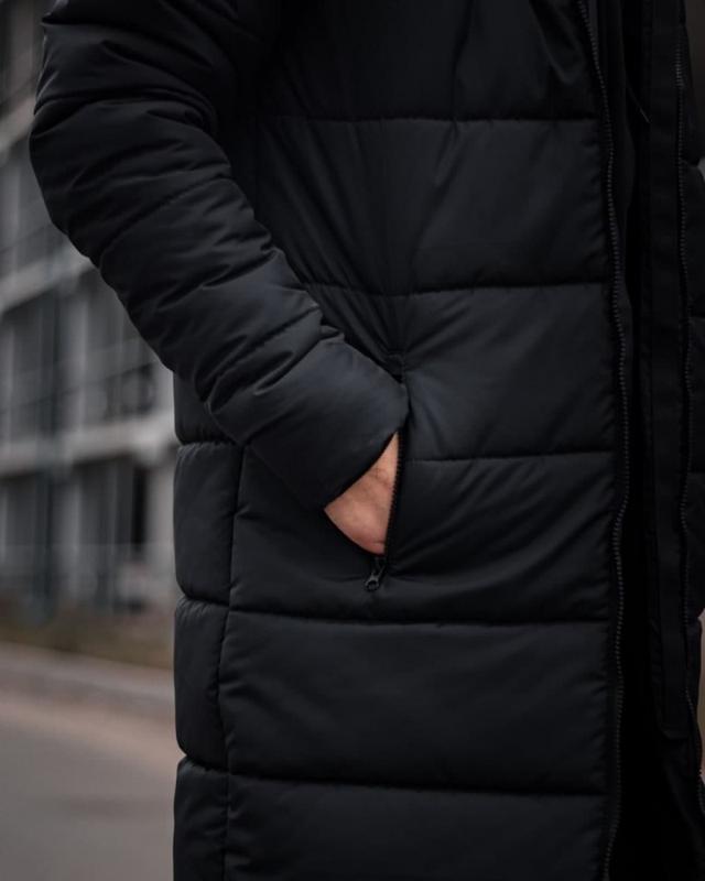 Зимний удлиненный пуховик - under armour черный куртка - Фото 3