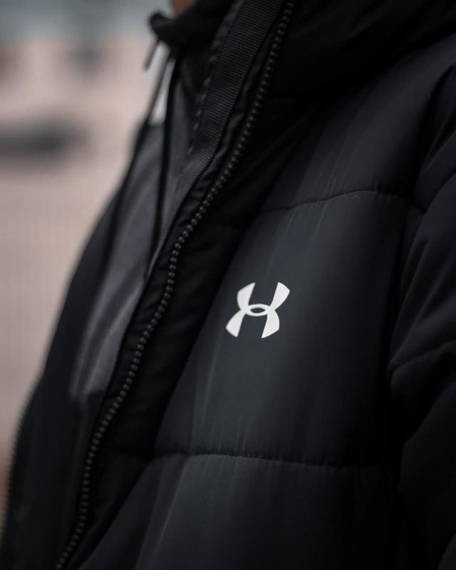 Зимний удлиненный пуховик - under armour черный куртка - Фото 5